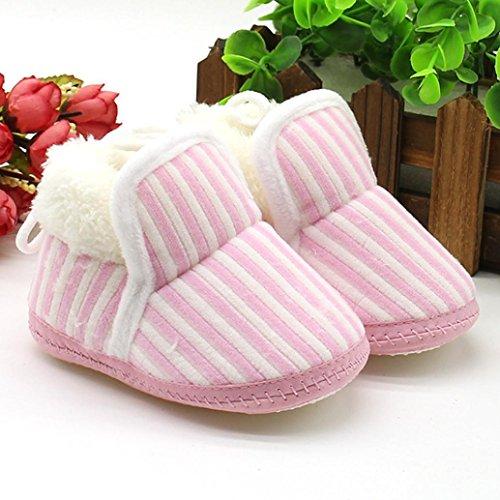 Baumwolle Jungen Schuhe Mädchen 12 Krippe 0 Weiche Sohle Gehen Rosa Monate Kleinkind Streifen Säugling Baby Overdose Weich qcAYzz