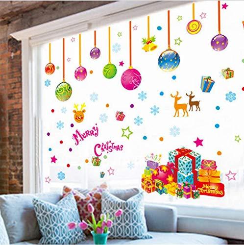 (Glasaufkleber Weihnachtsbaum Ballon Wandaufkleber Vinyl Abnehmbare Wandaufkleber Wand Dekor Poster Glas Schneeflocke Fenster DIY Weihnachten Dekor)