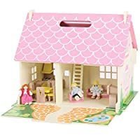 Bigjigs Toys Heritage Playset Blossom Cottage - Wooden Doll House with Furniture