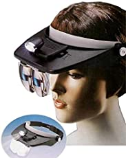 ZIGLY Headband LED Head Light Magnifier Magnifying Glass 4 Lens