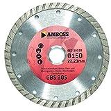 Amboss GBS 30S - Diamant-Trennscheibe Ø 180 mm x 22,2 mm - Granit / Beton / Hart- & Weichgestein / Klinker / Dachziegel / Zementrohre | Segmenthöhe: 8 mm (gesintert)