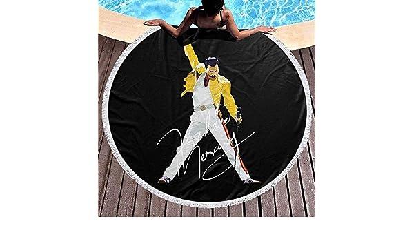 Duanrest Asciugamano da Spiaggia Tondo Coperta Grande Poliestere Roundie Circle Picnic Carpet Yoga Mat Freddie Mercury