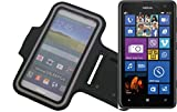K-S-Trade Für Nokia Lumia 625 Neopren Jogging Armband Sportarmband Oberarmband schwarz für Nokia Lumia 625 mit Reflektor Streifen. Fitness Lauf Armband