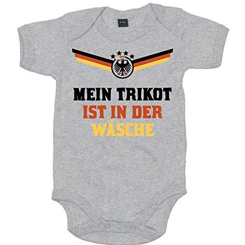 Deutschland Weltmeisterschaft 2018 Premium Babybody Fan Trikot Fußball Weltmeisterschaft Nationalmannschaft Mädchen Kurzarmbody, Farbe:Grau-Meliert (Heather Grey Melange BZ10);Größe:6-12 Monate