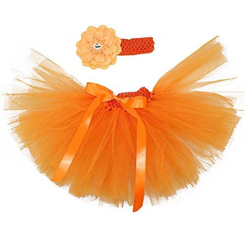Stirnband Tutu Mit Orange (Baby Rock Tutu Kleidung Kostüm Neugeborenes Prop Fotografie Foto Fotografie Outfits Süßer Prinzessin Kleid Tüllkleid mit Stirnband 0-18 Monate)