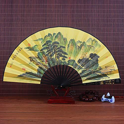 XIAOHAIZI Handfächer,Sommer Chinesischen Stil Männer Bambus Fan Gelb Naturlandschaft Pine Tree Mountain Vintage Faltfächer Für Zuhause Wanddekoration Männer Geschenk Fan U-Bahn (Mountain Mann Kostüm Kind)