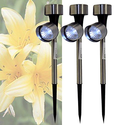 3er Set LED Solar Pflanzenleuchte Edelstahl Garten Leuchte Solarlampe Lampe Solarleuchte