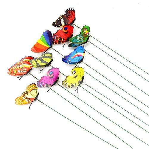 10 mariposas en miniatura para jardín de hadas, coloridas