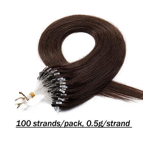 Extension anelli capelli veri #4 marrone cioccolato - 100 ciocche estensioni anellini con microring loop 100% remy human hair lisci lunghi umani naturali - 50cm 50g