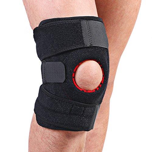 Utmury Kniebandage,Knieschoner Atmungsaktiver Knieschützer Verstellbare Knieorthese mit Gelenkschienen für Damen und Herren,Kniebandage Sport für Volleyball,Handball,Schwarz