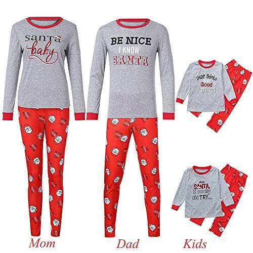Weihnachten Familie Pyjamas Outfit 2PCS Schlafanzug Nachtwäsche Damen Herren Baby Säugling Family Matching Set Xmas Zuhause Kleidung, Kinder Brief Drucken Top + Hosen (Kid2,90)