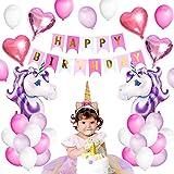 VSTON Palloncini Decorazione Partito Unicorno buon compleanno rifornimenti festa Bunting banner carta velina Pom fiori rosa ghirlanda per ragazze bambini bambino (bel tema rosa viola)
