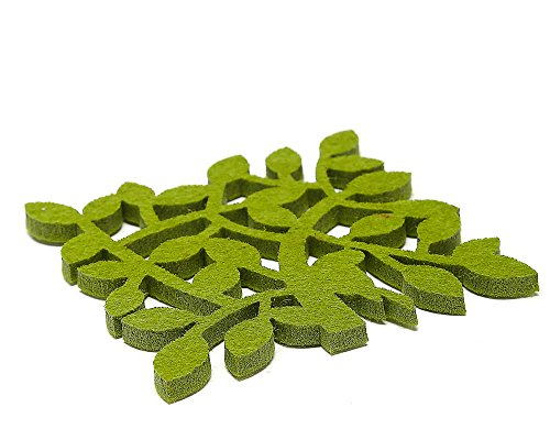 Dulce Cocina Zweig Polyester Filz Untersetzer Set von 6 – Home/Haus Dekorationen – Gute Drinks saugfähig – Grün