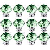 mit Schrauben FBSHOP Schrank,B/ücherschrank TM 6PCS Gr/ün Diamantschliff Kristall klar Glas T/ürknauf M/öbelkn/öpfe f/ür Schublade Kommode Schrank Barschran etc