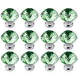 FBSHOP(TM) 12 Stück 30mm Grün Möbelknöpfe Kristall - Schrankknöpfe Möbelknopf Griffe Türknauf Möbel Moebelknopf Moebelknoepfe Moebelgriffe Moebelknauf Griff Knopf Schrankgriff Diamant Deko