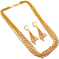 Jewar Mandi Chain Necklace One Gram Gold Pearl Polki Mala Gemstones Jewelry 7422 for women girls