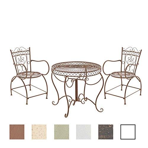 CLP Garten-Sitzgruppe Sheela aus lackiertem Eisen | Garten-Set Bestehend aus Einem Eisentisch und...
