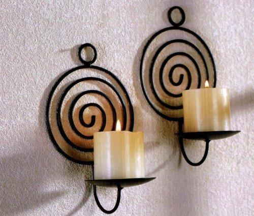 Tri - 2 Spirali porta-candele da parete, in metallo