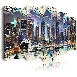 DekoArte Cuadro Moderno de 5 Piezas con Diseño New York Skyline Manhattan, Tela, Multicolor, 200x3x100 cm