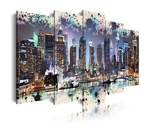 DEKOARTE 276 - Cuadro moderno en lienzo 5 piezas XXL skyline manhattan Nueva York fondo azul, 200x3x100cm