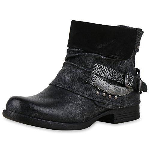 SCARPE VITA Damen Biker Boots Used Look Stiefeletten Nieten Schuhe 151754 Schwarz Silber Nieten 40