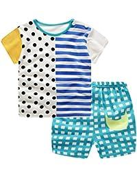 K-youth Conjunto Bebé Niños, Camiseta Estampado con Manga Corta Niño Ropa Recién Nacido Niña Tops y Pantalones Cortos Verano 0-3 años