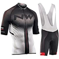 Firty Snownn Jersey de ciclismo de mangas cortas para hombres de verano con pantalones cortos de babero - Trajes de ropa de bicicleta - Secado rápido - Transpirable - Sudor-absorbente, 004, XL
