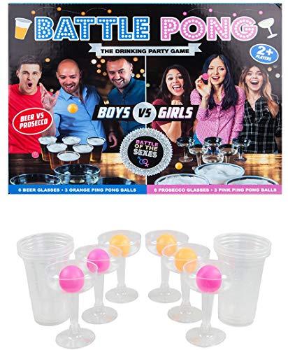 18 STÜCKE Schlacht Pong Spiel Bier VS Prosecco & Jungen GEGEN MÄDCHEN 12 GLÄSER MIT 6 ROSA Pong Balls