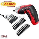 Apollo 3.6V Cordless 1300 mAh Lithium-Ion Battery Screwdriver & 26 Piece Screwdriver Bit and Wood Drill Bit Set