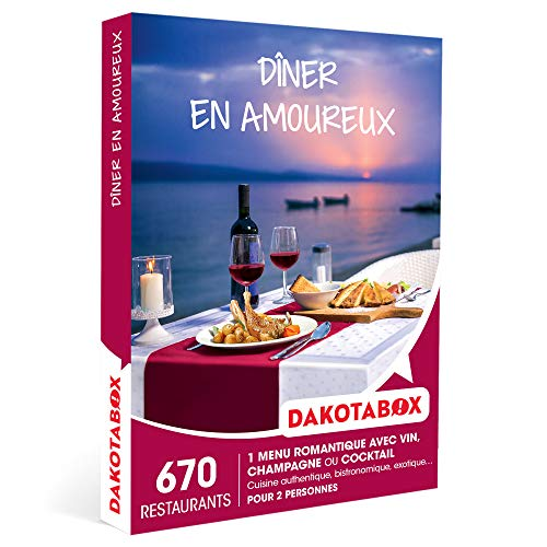 DAKOTABOX - Dîner en amoureux - Coffret Cadeau Gastronomie - 1 repas romantique avec...