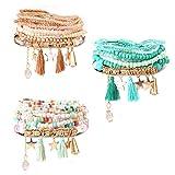 Milacolato 3Set Bead Mala Wrap Bracelet pour Les Femmes Filles Multicouche Bohême Bracelets Empilables