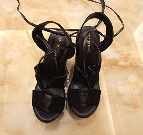 LvYuan Frauen Sommer Sandalen / Sexy Ultra High Heel / Wasserdichte Plattform / Stroh Flechten / Wedge Ferse / Strap / Office & Karriere / römische Schuhe Black