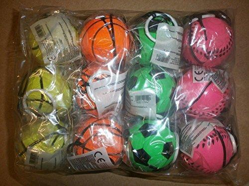 12-Stck-Retro-Springball-an-Gummiband-Flummi-an-Schnur-Fuball-Tennisball-Basketball-und-Baseball-farbig-an-Schnur