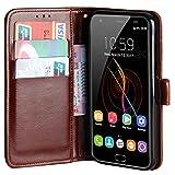 Raiphy Leder Brieftasche Hülle für Oukitel K6000 Plus,Telefon schützender lederner Fall mit Einem Einbauschlitz und Standfunktion (Braun)