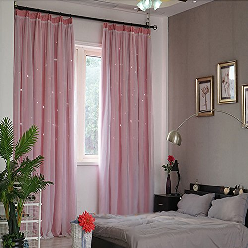 Preisvergleich Produktbild Voile +Polyestertuch Gardinen mit Ösen Durchbrochen Vorhänge Transparent Sternenmuster Vorhang Schlafzimmer Wohnzimmer Dimension 175x140 cm Ein Satz von 2 Stück (Rosa)