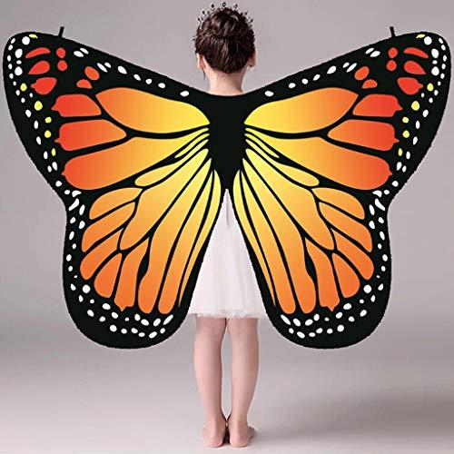 Preisvergleich Produktbild QIMANZI Schmetterling Kostüm Frauen Schmetterlingsflügel Schal Schals Damen Nymph Pixie Poncho Kostümzubehör(Orange)