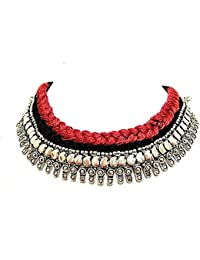 Muccasacra German Silver Stylish & Trendy Necklace With Black & Maroon Cotton Thread