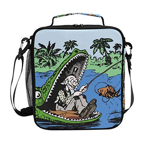 Lustige Alligator-Lunchtasche, isoliert, Lunchbox, Kühler, Schultergurt, Mahlzeit Vorbereiten für Frauen, Herren, Kinder, Jungen, Mädchen, große Tragetasche für Picknick, Schule Alligator Serviette