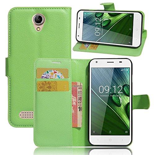 Tasche für Acer Liquid Z6 (5.0 zoll) Hülle, Ycloud PU Ledertasche Flip Cover Wallet Case Handyhülle mit Stand Function Credit Card Slots Bookstyle Purse Design grün