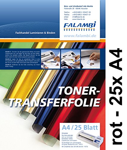 metallic Toner-Thermo-Transferfolie DIN A4 für Laminiergerät, gold, silber, kupfer, rot, blau grün (rot - 25 x A4) (Laser-toner-folie)