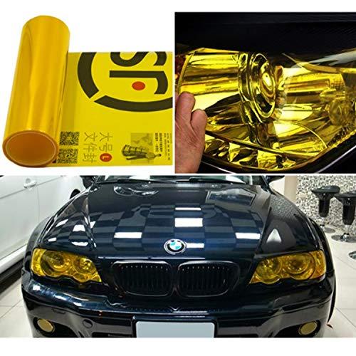 Mioke Auto Scheinwerfer Folie,300c*30cm Tönungsfolie Aufkleber cheinwerfer Nebelscheinwerfer Rücklicht Vinyl Farbe Zubehör (Gelb)