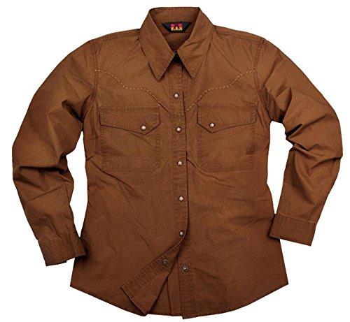Damen Long Sleeve Western Shirt (Kakadu Traders Australia Outdoor Western Damenbluse in Blau, Grün und Braun Aus Leichter Baumwolle)