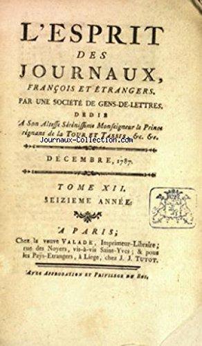 ESPRIT DES JOURNAUX (L') du 01/12/1787