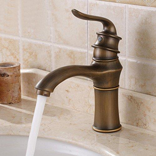 Robinet de lavabo de style européen cuivre complet mitigeur lavabo robinet salle de bain robinet Continental rétro vert bronze robinet mélange chaud et froid robinet SLT