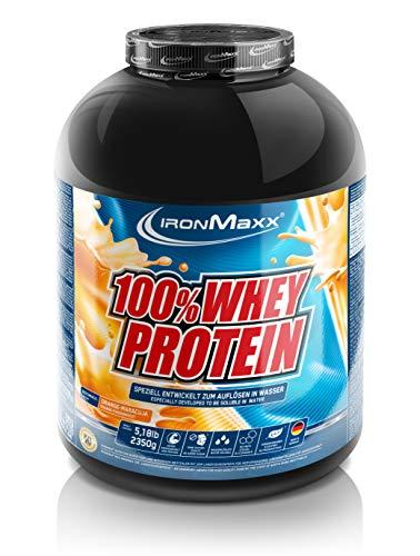 IronMaxx 100% Whey Protein Pulver - Proteinreiches Eiweißpulver - Wasserlösliches Proteinpulver mit Orange-Maracuja Geschmack - 1 x 2,35 kg Dose