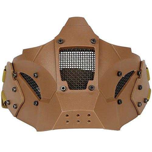 aktik Gesichtsschutz Metall Mesh Maske Militär Stil Bequeme Verwendung mit Quick Helm für Air Gun/Jagd/Paintball Shooting (grün), hautfarben ()
