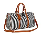 BAOSHA HB-24 Frauen Damen Segeltuch Weekender Tasche Reisetasche Handgepäck Canvas Travel Duffel Totes Weekend Overnight Bags Mit PU Leder Schulterriemen (Schwarz)