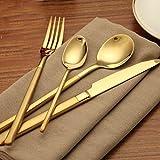 Ankooki Besteck Set for 4-Teiliges Poliertes Edelstahlbesteck Messer, Gabel, Löffel für Haus, Restaurant,Perfektes Design, Sicherheit und Gesundheit. (Style 5)