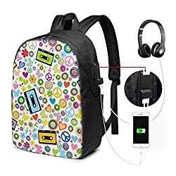 Business Laptop Backpack Flower Power Background with Audio Tape Cassettes USB Charge for Men Women 17In