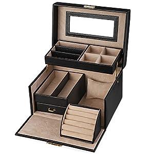 SONGMICS Schmuckkasten, Schmuckkoffer mit Schubladen, Schmuckbox mit Spiegel und Schloss, für Ringe, Armbanduhren, Ohrringe, Halsketten, Kunstleder und Samt, als Geschenk